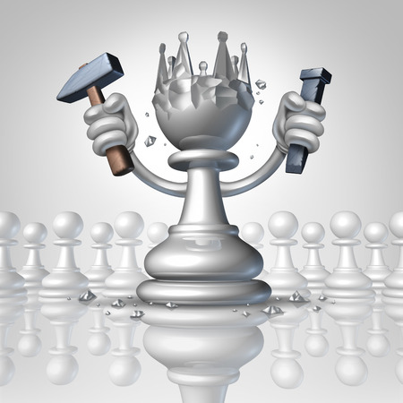 expertise concept: Power to change personal growth concept with a chess pawn using a hammer and chisel sculpting a king crown from his body as a business concept of taking control of your destiny and metaphor for leadership and success