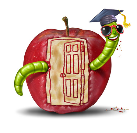 School open door concept as a fun worm emerging out of an apple that has been eaten to form the shape of an opened doorway entrance as a symbol of education and learning communication  photo