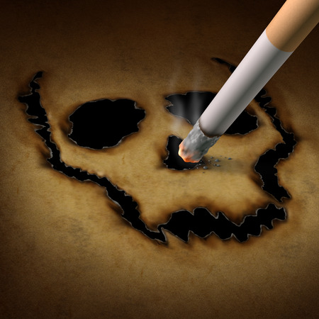 quiting smoking: Smoking danger concept as a cigarette burning a human skull symbol out of old grunge paper as a metaphor for toxic smoke exposure causing lung cancer and lethal health risks  Stock Photo
