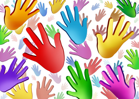 cultural diversity: Volunteer hands community concept as a symbol of a group of colorful human hands raised in the air representing multi ethnic cultural diversity in friendship working together as a team for social success