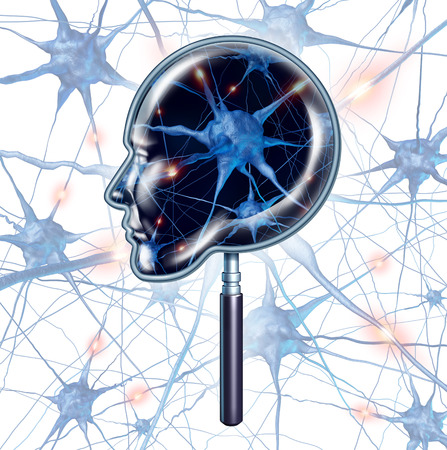 dendrites: Brain exam medical symbol represented by a magnifying glass shaped as a human head as a close up of 3d neuron function