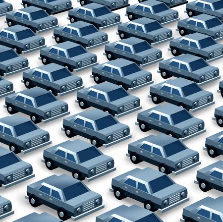 Autodealer begrip als een groep van generieke driedimensionale auto's georganiseerd als een patroon in een parkeerplaats als een symbool van de auto verkoop import en export of productie recalls Stockfoto