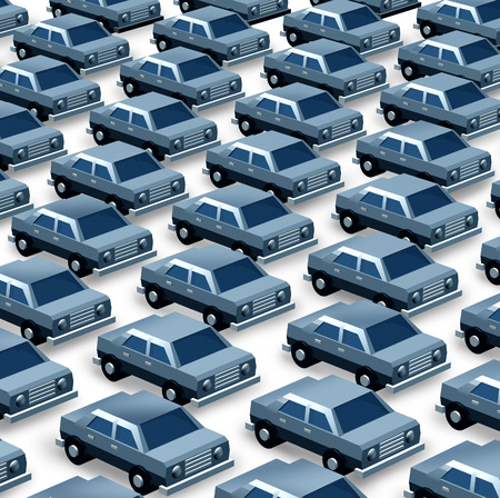 Car dealership concept as a group of generic three dimensional cars organized as a pattern in a parking lot as a symbol of auto sales imports and exports or manufacturing recalls  Stock Photo