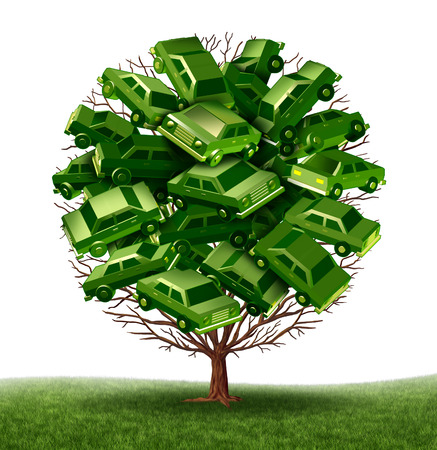 fuel cell: Green car and alternative fuel vehicle concept as a group of 3d cars as leaves growing on a tree as a symbol of the growth of ecological auto sales as electric solar and fuel cell transportation, Stock Photo