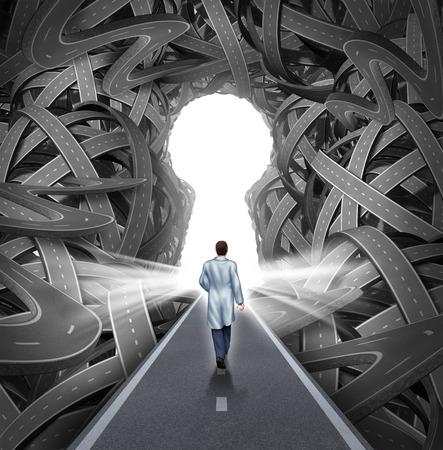 Concepto de investigación y desarrollo médico con un médico del hospital en una bata de caminar hacia un grupo de caminos enredados con un agujero de llave como una metáfora para el éxito en la medicina y la asistencia sanitaria Foto de archivo - 27295466