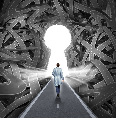 tangled roads: Medical research and development concept with a hospital doctor in a labcoat walking towards a group of tangled roads with a keyhole opening as a metaphor for success in medicine and health care  Stock Photo