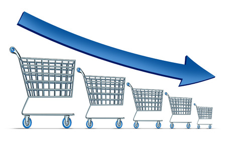 consumerism: Sales decline symbol as a group of shrinking shopping carts with a blue arrow going down as a metaphor for commercial retail consumerism on a white background  Stock Photo