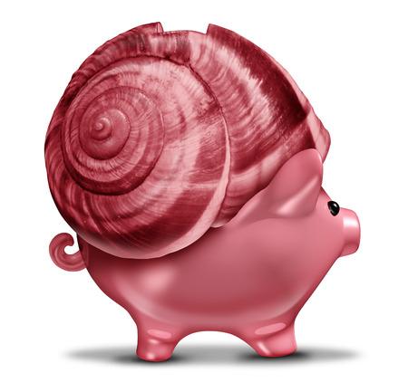 financial metaphor: Inversi�n lenta y conservadora concepto de negocio de inversi�n como una concha de caracol en un s�mbolo de la hucha como met�fora financiera para la tolerancia al riesgo en el manejo de los ahorros presupuestarios o lenta recuperaci�n econ�mica Foto de archivo