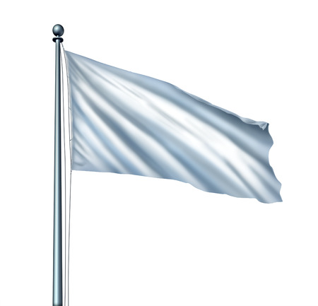 ceasefire: White flag isolated as a surrender symbol and metaphor for retreat in business with a blank cloth on a flagpole as an icon of giving up the fight with copy space for a promotion or advertising message  Stock Photo
