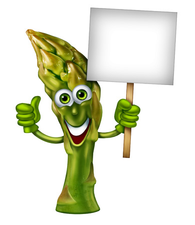 Asparagus character as a green healthy eating mascot  with a friendly vegetable and a happy smile isolated on a white background holding a blank sign as a food concept of organic fresh health diet