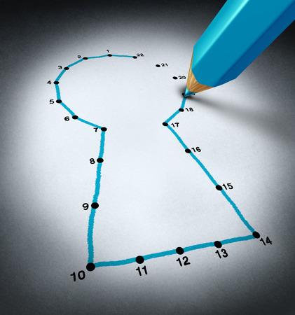 planung: Schließen Sie die Punkte Business-Lösungen Konzept als Blaustift Anschluss eines Kinder-Puzzle-Symbol eines Schlüssellochs als Metapher für den Schlüssel zum Erfolg mit Planung und Strategie