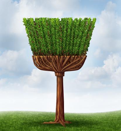 Lente schoonmaak concept met een boom en bladeren in de vorm van een bezem en behandelen als een symbool van meid diensten of het huishouden klusjes te reinigen ans weg te vegen vuil in een huis of zuiveren de lucht in het milieu door middel van een natuurlijk proces