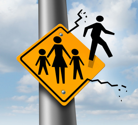Absent dad or deadbeat father concept as a traffic sign with a mother and two children and a daddy icon breaking out abandoning and leaving the family to avoid child support after a relationship divorce or separation