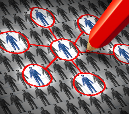 Connection business human resource concept as an infographic drawing of a group of generic business people symbols with some that are highlighted with a red pencil as a metaphor for building social links  Stock Photo