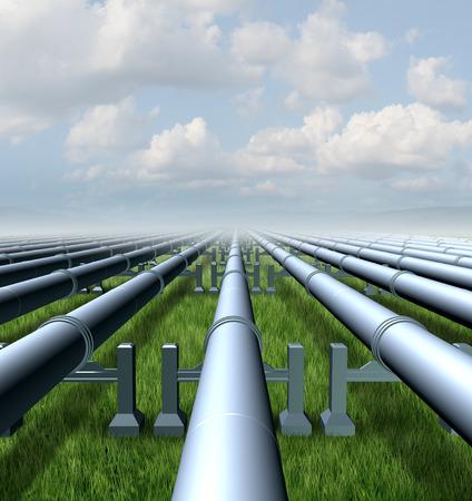 commodities: Concepto Gasoducto como un grupo de tres tubos met�licos tridimensionales que transportan l�quidos y gases combustibles energ�ticos y productos derivados del petr�leo del petr�leo como un s�mbolo de distribuci�n y transporte de los productos b�sicos de alimentaci�n
