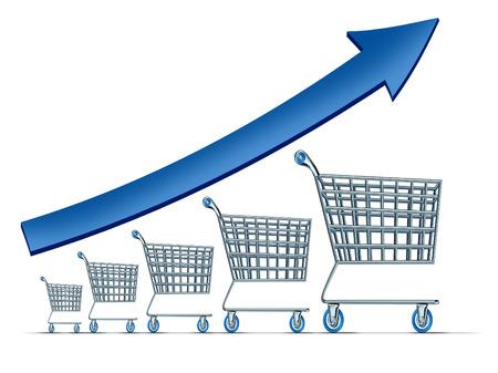 actividad econ�mica: Las ventas aumentan s�mbolo como un grupo de la subida de carritos de la compra con una flecha azul que sube como una met�fora para el �xito de consumismo comercial minorista sobre un fondo blanco
