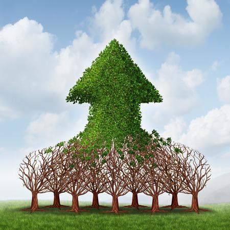 Groei team en bedrijfswinsten business concept met een groep van groeiende bomen die zich verenigen tot een opwaartse pijl als teamwork ontwikkeling metafoor voor financieel succes te vormen
