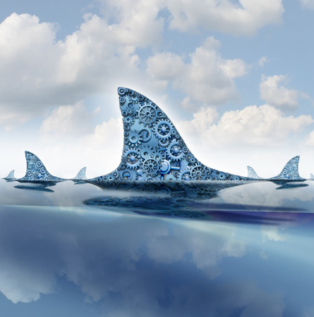 takeover: Business shark concept as gears and cog wheels shaped as a group of dorsal fins from a predator hunter as a financial metaphor for aggressive mergers by hunting and preying upon distressed companies  Stock Photo