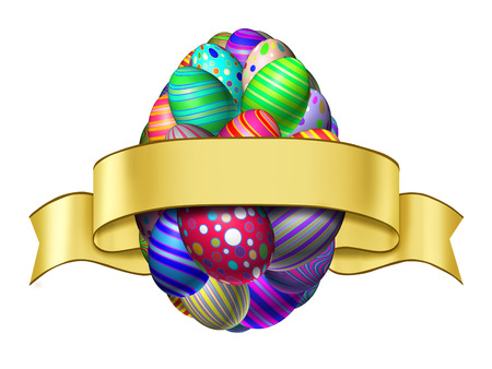 Easter ribbon label concept as a happy spring celebration blank banner with a group of colorful decorated eggs shaped as a giant egg isolated on a white background  photo