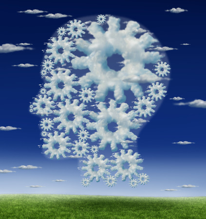 brain function: Head and brain gears concept as a symbol of human intelligence and thinking with a group of connected clouds up in the blue sky shaped as cog wheels as a metaphor for learning and education