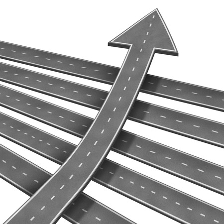 against the current: Individuality leadership with an arrow road moving forward and upward against the current as a business confidence metaphor for innovative thinking outside the box isolated on white