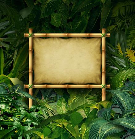 selva: Jungle firmar concepto cartelera en blanco como bandera de bambú en un bosque tropical lleno de plantas de la vegetación verde como símbolo de la naturaleza o de la comunicación publicitaria del medio ambiente