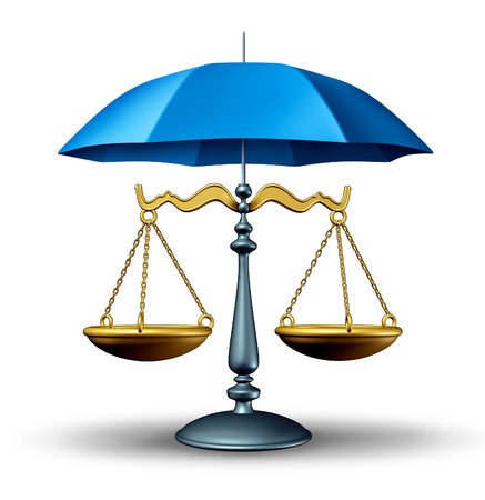 constitutional law: Legal security concept with a justice scale of law protected by a blue umbrella as a security symbol of the judicial system in government and society in protecting rights and regulations  Stock Photo