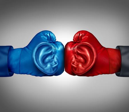poner atencion: Escuche a su concepto de negocio la competencia con un guante de boxeo rojo y azul con un símbolo de oído humano escuchando y analizando información de un entorno competitivo como metáfora de la táctica y la estrategia de planificación