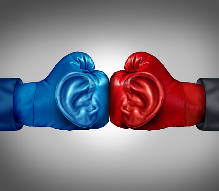 pry: Listen to your competition business concept with a red and blue boxing glove with a human ear symbol listening and analizing information from a competitive environment as a metaphor for planning tactics and strategy