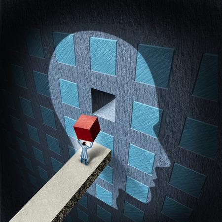 Psychologie therapie concept met een arts met een rode blok naar een verzuilde menselijk brein als een geestelijke gezondheid symbool voor de psychiatrie en neurologie behandeling repareren door een chirurg of een wetenschappelijk onderzoeker