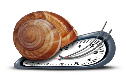 slow: Slow service concept as a time clock with a shell shaped as a snail  as a metaphor for procrastination and leisurely customer service or being tired and sleepy symbol on a white background  Stock Photo