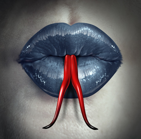 Temptation and human gossip concept as woman lips with a snake forked tongue as a metaphor for dirty talk or sexual issues