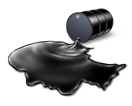 riesgo quimico: Derrame de petróleo concepto de riesgo para la salud como un barril negro de petróleo se derraman fuera de un tambor de metal con el líquido químico en forma de una cabeza humana como una metáfora de la energía para la búsqueda de soluciones a una crisis ambiental