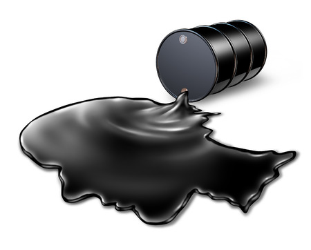 Oil spill health risk concept as a black barrel of petroleum spilling out of a metal drum with the chemical liquid shaped as a human head as an energy metaphor for finding solutions to an environmental crisis