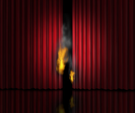sinful: Hot show entertainment concept as a theatre stage with red velvet curtains or drapes burning with flames and smoke as a metaphor for a sizzling cinematic performance or the heat of gossip scandal or steamy rumors