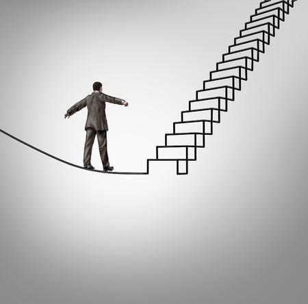 concepto: Oportunidad de riesgos y la gestión de concepto de negocio de peligro con un hombre de negocios de equilibrio en la forma como escaleras ascendentes o escalera como metáfora carrera financiera para superar los retos difíciles y reducir la incertidumbre en la cuerda floja