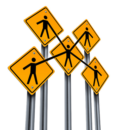 Business partners and teamwork concept as a group of traffic signs with people holding hands in agreement connected together as a company organization for team and community success isolated on a white background