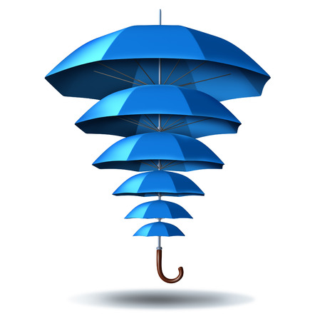 partnership security: Increased business protection and growing community security concept with a blue umbrella metaphor changing in size from small to big protecting multiple smaller umbrellas connected together in a social network to protect team members