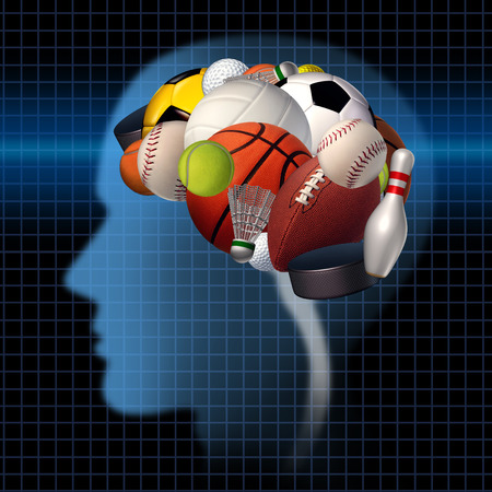 performances: Sport psychology concept as a group of sports equipment shaped as a human brain as a mental health symbol for the relationsip between psychological and physical elements of neurology to improve performance in athletes and treating competitive anxiety,