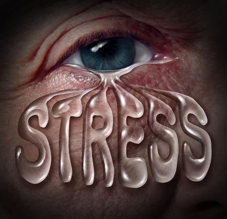Human Stress concept als een oog huilen een traan die is gevormd met letters als een metafoor voor geestelijke gezondheidsproblemen in verband met eenzaamheid en emotionele ziekte op basis van verdriet of chemische onbalans als angst en omgaan met stressvolle levensgebeurtenissen paniek Stockfoto