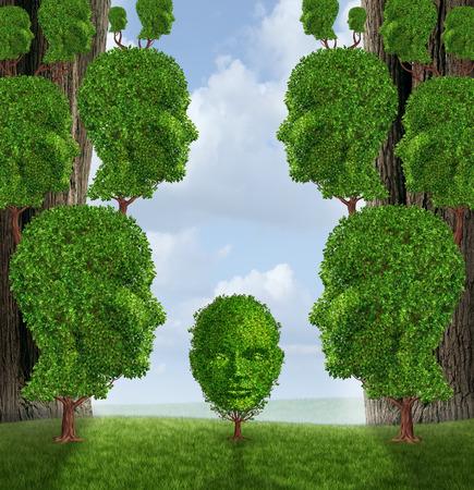 servicios publicos: La asistencia comunitaria y el apoyo público concepto como un grupo de árboles en forma de cabeza humana adulta dando ayuda a una planta de niño pequeño como una metáfora crianza de los servicios sociales del gobierno en la educación y la amistad