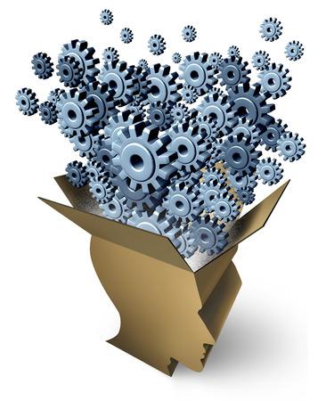 Gehirnfunktion und außerhalb der Box Denken als Kartonverpackung als eines menschlichen Kopfes mit Getriebe und Zahnräder aus Schwellen als Metapher für Unternehmen Innovation und Kreativität Inspiration auf weißem Hintergrund geprägt