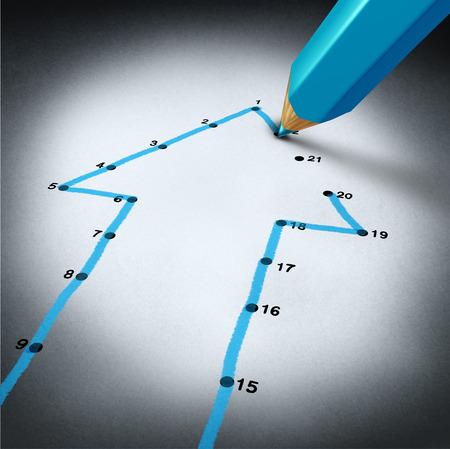 destin: strat�gie de r�ussite et �tape par la planification des activit�s de l'�tape comme un crayon bleu lignes de connexion de dessin pour relier les points sur un puzzle en forme comme une fl�che qui monte comme une m�taphore financi�re pour un projet personnel pr�vu succ�s