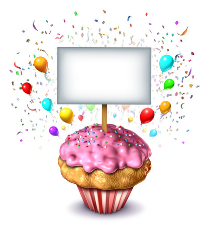 bake sale: Party sign concept as a frosted dessert cupcake with a blank card as a symbol of celebration for a birthday or anniversary or an award for the winner of a bake sale with balloons and confetti celebrating a fun event