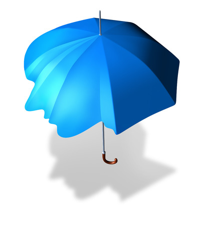 sheltered: Psychological protection and antisocial personality disorder concept as an umbrella shaped as a human head as a metaphor and medical symbol for living a lonely sheltered life  Stock Photo