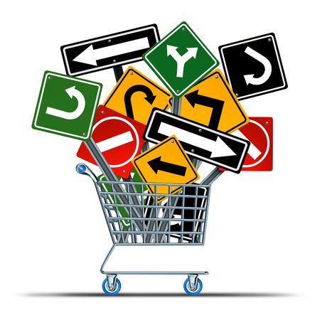 Shopping direction business acquisition concept and consumer guide to sales as a shop cart with a group of confusing traffic signs as a metaphor for marketing strategy and retail industry guidance  photo