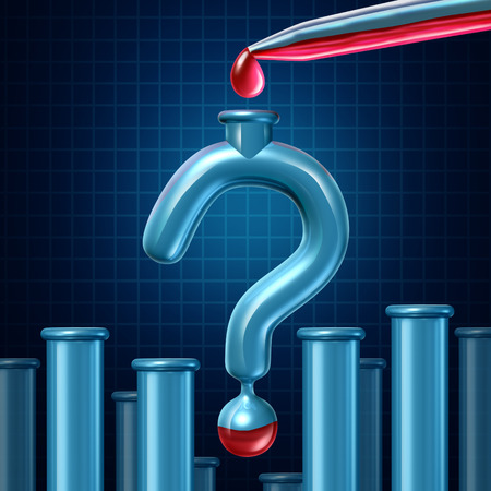medical questions: Lab test questions and medical research uncertainty as a science laboratory  glass tube shaped as a question mark with red liquid from an eye dropper being poured inside the container as a metaphor for sample and human specimen analysis
