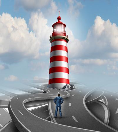 Financiële begeleiding en zakelijke crisis oplossing concept met een zakenman die zich op een groep van verwarrende wegen en straten met een leidend licht van een vuurtoren als een metafoor voor het vinden van de weg naar succes Stockfoto