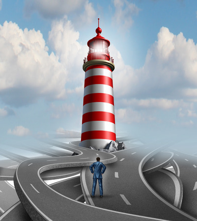 Financial guidance and business crisis solution concept with a businessman standing on a group of confusing roads and streets with a guiding light from a lighthouse as a metaphor for finding the path to success  Stock Photo