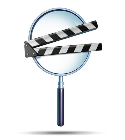 Media search and multimedia surfing on the internet for entertainment and searching engine optimization as a magnifying glass with a clap board or film slate movie production symbol on white